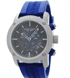 Auth Burberry BU7711 Chronograph Blue Rubber Sport Mens Watch New