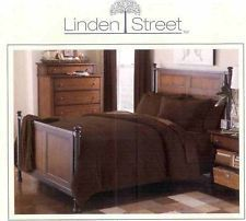 NEW Linden Street Full Queen Dark Brown Chenille Soft Plush Stripe