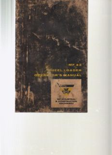 Massey Ferguson MF 33 Wheel Loader Operators Manual