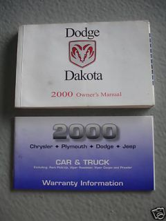 2000 Dodge Dakota Owners Manual Guide Books Literature