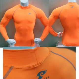 Mens Compression Long Sleeve Shirts Orange M Base Layer Tights Skin