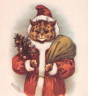 Louis Wain Santa Claus Tiger Cat Tree Father Christmas Reproduction