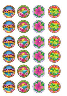 Hawaiian Aloha Luau Themed Edible Cup Cake Toppers Rice Paper