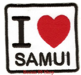 Love Samui Logo Embroidered Iron Patch T Shirt Sew