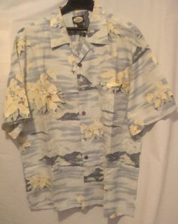 Tommy Bahama Hawaiian Print Camp Shirt 100 Silk S S Large Button Front