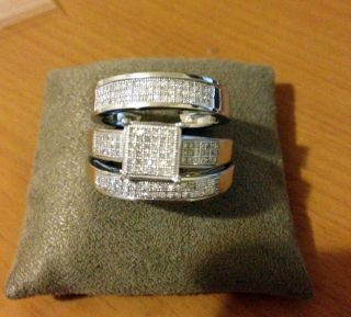 Men Womens Diamond Rings Trio Set Wedding Rings White Gold Over Silver
