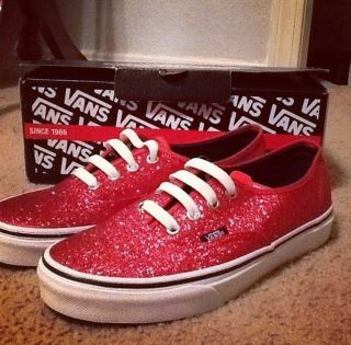Super Cute Red Glitter Vans Size 7 1 2 Brand New in Box