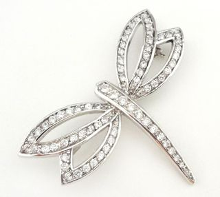 Sterling Rhinestone Dragonfly Brooch Pin Silver Marked 925