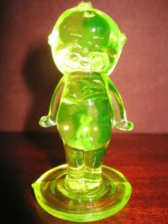Yellow Vaseline glass Kewpie cupie doll uranium girl figurine boyd