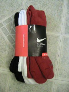 Nike Mens Dri Fit Crew Socks Red White and Black Size Large 8 12