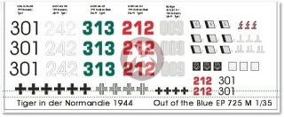 Decals 1 35 German Tiger Tank Markings in Normandy 1944 EP725