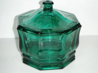 VINTAGE INDIANA GLASS BLUE GREEN OCTAGON CANDY DISH /BOWL WITH LID