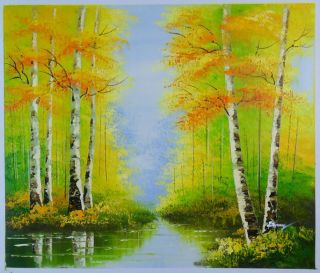 Hand Painted Signed Stock Oil Painting 24x20 Trees Forest Spring