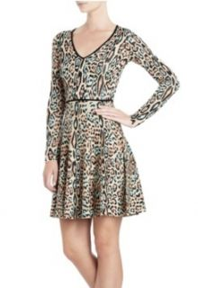 NEW* BCBG Lt Aqua Dk Blush Combo Melora Leopard Print Dress L $298