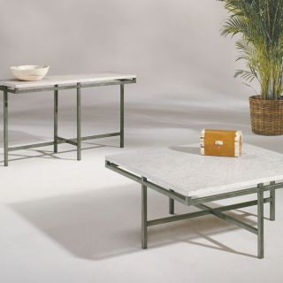 Metal Stone Modern 2 PC Square Coffee Table Set