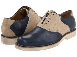 Mens Hush Puppies Authentic Saddle Shoe Blue Leather Beige Suede