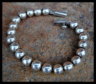MEXICO MEXICAN STERLING SILVER BRACELET BEAD BEADED BALL HANDCRAFTED