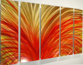 yellow red Metal Modern Abstract Wall decor Art Painting Sculpture