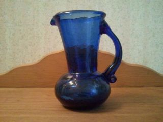 Vintage Cobalt Blue Crackle Glass Mini Pitcher
