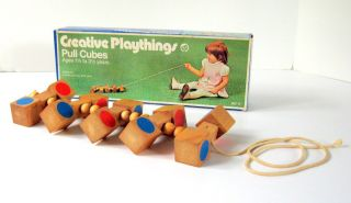 Vintage Creative Plaything Pull Cubes B0111 12 Long Wooden Pull Toy