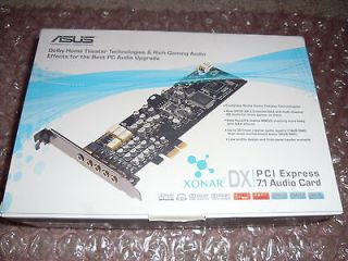 NEW ASUS XONAR DX 7.1 Audio Card PCI e w/full accessories( low profile