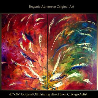 ORIGINAL FINE ART ABSTRACT MODERN OIL PAINTING DECOR Eugenia Abramson