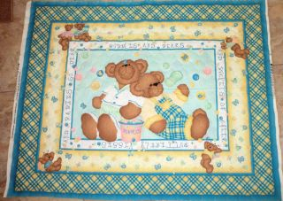 & BEARS PRE QUILTED FABRIC PANEL DAISY KINGDOM TEDDY BEAR FABRIC OOP