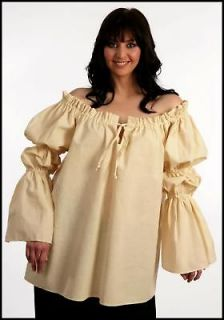 RENAISSANCE PEASANT WENCH PIRATE SCA COSTUME NATURAL COTTON SHIRT TOP