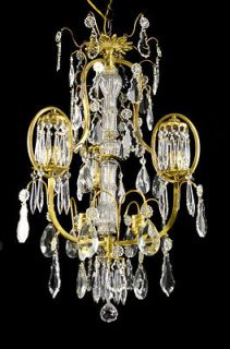 Style Antique Vintage Brass Bronze Crystal Glass Chandelier Pendant
