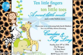 20 Invitations safari Jungle Monkey animal BABY SHOWER BIRTHDAY