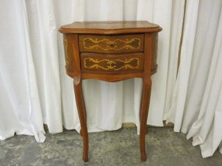 Antique French Provincial Side Table w Blond & Brown Inlay & 2 Drawers