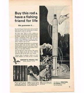1964 Wright McGill Fly Rod Fishing Eagle Vintage Print ad