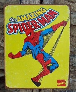 Antique Style Spiderman Metal Sign Comic Book Home Man Cave Wall Decor