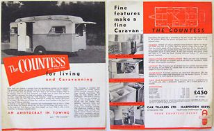 Car Trailers Ltd Countess Caravan Original single sheet Sales Brochure