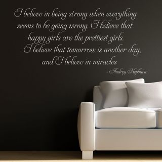 BELIEVE   AUDREY HEPBURN QUOTE WALL STICKER DECAL ART MURAL