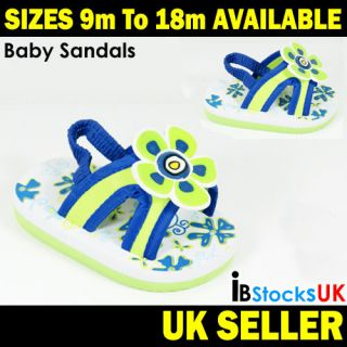 Baby Boys Girls Sandals Blue with Flower Cute Soft Shoes 9 12 m To 15