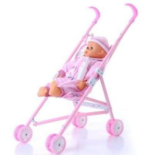 Baby Small Cart Collapsible Baby Walker Children Play House Toys Pink
