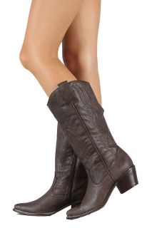 Wild Diva Women Cowgirl Cowboy Boots pointy toe Brown Color Small Heel