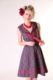 Bettie Page Clothing Tatyana Cherry Denim Prairie Dress Rockabilly