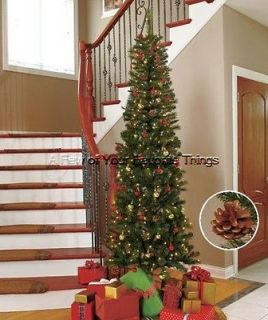 7FT SLIM PRE LIT CHRISTMAS TREE W/ 200 WHITE LIGHTS & 18 PINE CONES