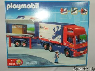 PLAYMOBIL semi truck EUROTrans 4323 Big Rig trailer hauler RETIRED NEW