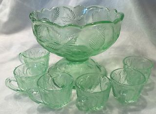 Antique Green DEPRESSION GLASS PUNCH BOWL & 6 CUPS teacups STRAWBERRY