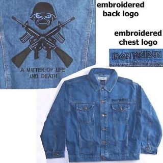 IRON MAIDEN LIFE & DEATH BLUE DENIM JACKET MEDIUM NEW RARE OFFICIAL
