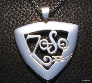 MJG SILVER ZOSO GUITAR PICK PENDANT. JIMMY PAGE. LED ZEPPELIN