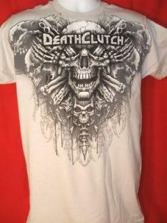 Death Clutch Skeleton Collar Silver UFC T shirt NEW MMA