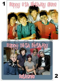 ONE DIRECTION EDIBLE ICING SHEET / CAKE TOPPER   11 sizes & shapes