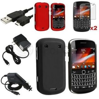 Black+Red Rubber Hard Case+2x Film+Car+Home Charger+USB For BlackBerry