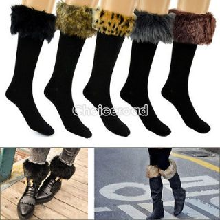 Cotton Socks On Faux Fur Cover Half Long Stockings Fit Boots Leopard