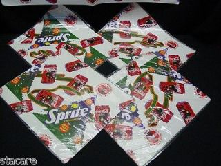 of Coca Cola Sprite Christmas Gift Wrapping paper Scrapbooking NIP