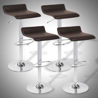 9009R Air Lift Adjustable Bar Stool Red and Chrome Finish, Set of 4